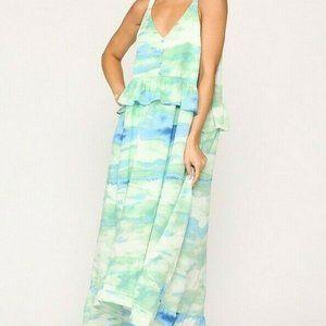Gigio Umgee Maxi Dress Tie Dye Pocket Ruffle